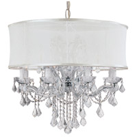 Crystorama 4489-CH-SMW-CLS Brentwood 12 Light 30 inch Polished Chrome Chandelier Ceiling Light in Polished Chrome (CH), Smooth Antique White, Clear Swarovski Strass
