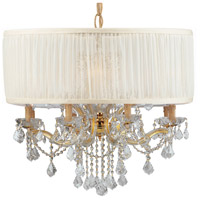 Crystorama 4489-GD-SAW-CLM Brentwood 12 Light 30 inch Gold Chandelier Ceiling Light in Gold (GD), Clear Hand Cut, Silk
