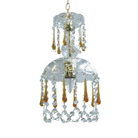 Crystorama Signature 1 Light Chandelier in Polished Brass with Murano Crystals 4501-PB-AMBER