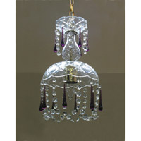 Crystorama Signature 1 Light Chandelier in Polished Brass with Murano Crystals 4501-PB-PURPLE