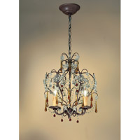 Crystorama Ella 3 Light Chandelier in Dark Rust with Murano Crystals 4503-DR