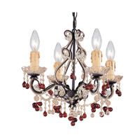 Crystorama Paris Flea Market 4 Light Chandelier in Dark Rust with Murano Crystals 4504-DR