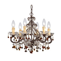 Crystorama Paris Flea Market 6 Light Chandelier in Dark Rust with Murano Crystals 4507-DR