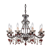 Crystorama Paris Flea Market 8 Light Chandelier in Dark Rust with Murano Crystals 4509-DR