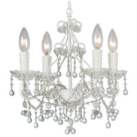 Crystorama Paris Flea Market 4 Light Chandelier in Wet White with Murano Crystals 4514-WW-CLEAR