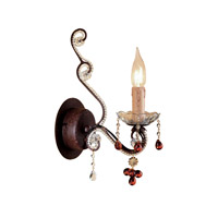 Crystorama Paris Flea Market 1 Light Wall Sconce in Dark Rust with Murano Crystals 4521-DR