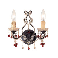 Crystorama Paris Flea Market 2 Light Wall Sconce in Dark Rust with Murano Crystals 4522-DR