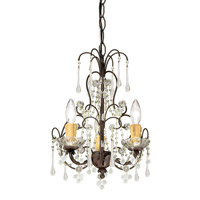 Crystorama Ella 3 Light Mini Chandelier in Dark Rust with Murano Crystals 4523-DR