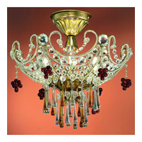 Paris Flea  4526-GL Semi Flush Gold Leaf  Mount Adorned with Amber Colored Murano Crystal