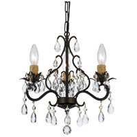 Crystorama Signature 3 Light Chandelier in English Bronze with Hand Cut Crystals 4534-EB
