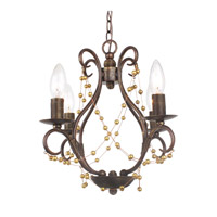 Crystorama 454-EB Angelina 4 Light 15 inch English Bronze Mini Chandelier Ceiling Light in English Bronze (EB)