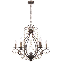 Crystorama Angelina 6 Light Chandelier in English Bronze 456-EB