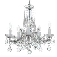 Traditional Crystal 5 Light 20 inch Polished Chrome Chandelier Ceiling Light