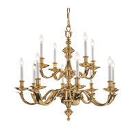 Crystorama Lighting Arlington 12 Light Chandelier in Polished Brass 459-PB