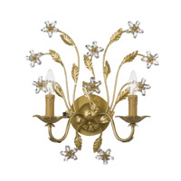 Crystorama Paris Flea Market 2 Light Wall Sconce in Gold Leaf with Hand Polished Crystals 4602-GL