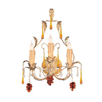 Crystorama Lighting Ritz 3 Light Wall Sconce in Gold Leaf & Murano Crystal 4603-GL