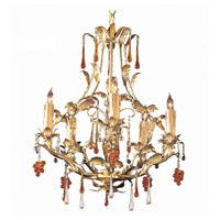 Crystorama Ritz 5 Light Chandelier in Gold Leaf with Murano Crystals 4605-GL