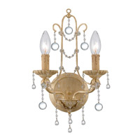 Crystorama Lena 2 Light Wall Sconce in Champagne with Murano Crystals 4612-CM