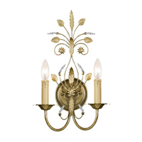 Crystorama 4702-GL Primrose 2 Light 11 inch Gold Leaf Wall Sconce Wall Light