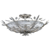Crystorama Primrose 6 Light Semi-Flush Mount in Silver Leaf with Swarovski Spectra Crystals 4704-SL