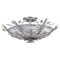 Crystorama 4704-SL Primrose 6 Light 20 inch Silver Leaf Semi Flush Mount Ceiling Light in Silver Leaf (SL)
