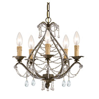 Crystorama Abigail 5 Light Mini Chandelier in Birch with Hand Cut Crystals 4715-BI-CL-MWP