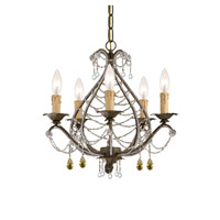 Crystorama Abigail 5 Light Mini Chandelier in Birch with Murano Crystals 4715-BI photo thumbnail
