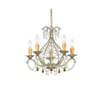 Crystorama Abigail 5 Light Mini Chandelier in Gold Leaf with Murano Crystals 4715-GL photo thumbnail