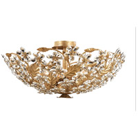 Crystorama Primrose 6 Light Flush Mount in Gold Leaf with Hand Polished Crystals 4724-GL