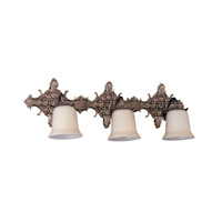 Baroque 3 Light 26 inch Antique Brass Bath Light Wall Light in Antique Brass (AB)