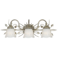 Crystorama Primrose 3 Light Bath Light in Silver Leaf with Swarovski Spectra Crystals 4743-SL