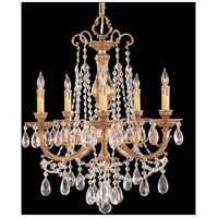 Etta 5 Light 20 inch Olde Brass Chandelier Ceiling Light in Clear Crystal (CL), Hand Cut