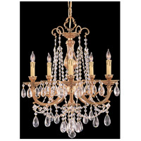 Crystorama Etta 5 Light Chandelier in Olde Brass with Swarovski Spectra Crystals 475-OB-CL-SAQ