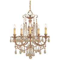 Etta 5 Light 20 inch Olde Brass Chandelier Ceiling Light in Golden Teak (GT), Swarovski Elements (S)