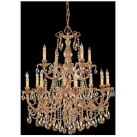 Etta 12 Light 32 inch Olde Brass Chandelier Ceiling Light in Golden Teak Hand Cut