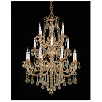 Etta 16 Light 36 inch Olde Brass Chandelier Ceiling Light in Golden Teak (GT), Swarovski Elements (S)