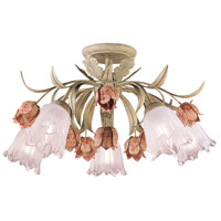 Crystorama Southport 5 Light Semi-Flush Mount in Sage/Rose 4800-SR
