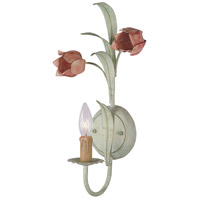 Crystorama Southport 1 Light Wall Sconce in Sage/Rose 4801-SR