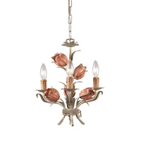 Crystorama Southport 3 Light Mini Chandelier in Sage and Rose 4803-SR