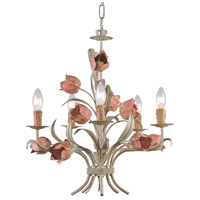 Crystorama Southport 5 Light Mini Chandelier in Sage/Rose 4805-SR