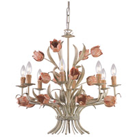 Crystorama Southport 8 Light Chandelier in Sage and Rose 4808-SR