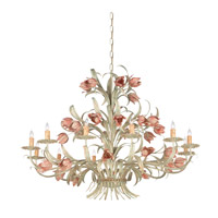 Crystorama Southport 12 Light Chandelier in Sage/Rose 4809-SR