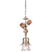 Crystorama Southport 1 Light Pendant in Sage/Rose 4821-SR
