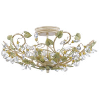 Crystorama Josie 3 Light Semi-Flush Mount in Champange Green Tea with Hand Cut Crystals 4840-CT