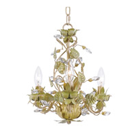 Crystorama Josie 3 Light Mini Chandelier in Champagne Green Tea, Hand Cut 4843-CT