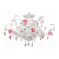 Crystorama Lola 6 Light Semi-Flush Mount in Antique White with Hand Cut Crystals 4850-AW