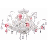 Crystorama Lola 6 Light Semi-Flush Mount in Wet White 4850-WW