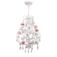 Crystorama Lola 3 Light Chandelier in Antique White with Hand Cut Crystals 4853-AW