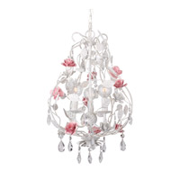 Lola 3 Light 12 inch Wet White Mini Chandelier Ceiling Light in Hand Cut, Wet White (WW)