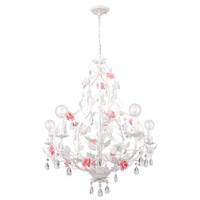 Crystorama Lola 5 Light Chandelier in Antique White with Hand Cut Crystals 4856-AW